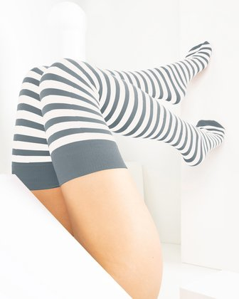 1505 Grey White Striped Thigh Highs