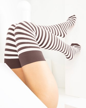 1505 Mocha White Striped Thigh Highs Tights