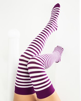 1505 Rubine Striped Thigh High Socks