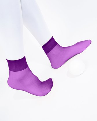 1528 Amethyst Sheer Color Ankle Socks