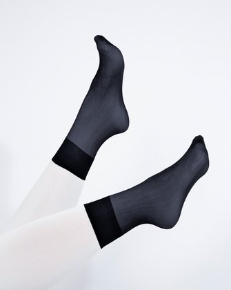 1528 Charcoal Sheer Color Ankle Socks
