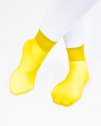 1528 Yellow Sheer Color Anklets Socks