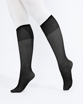 1536 Black Sheer Color Knee Hig Socks