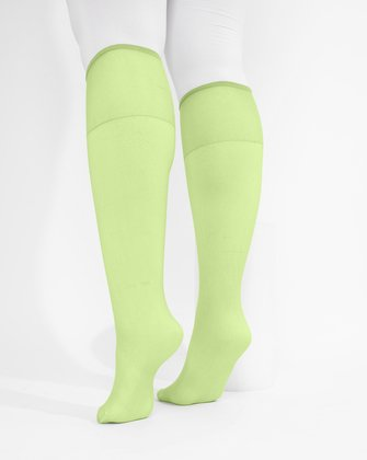 1536 Mint Green Sheer Color Knee Hig Socks