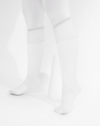 1536 White Sheer Color Knee Hig Socks