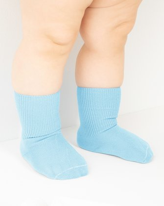 1577 Aqua Solid Color Kids Socks