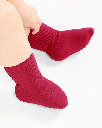 1577 Red Solid Color Kids Socks