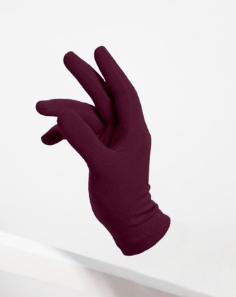 3601 Maroon Short Matte Knitted Seamless Gloves