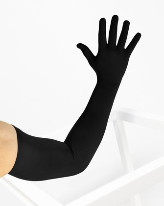 3607 Black Long Matte Knitted Seamless Armsocks Gloves