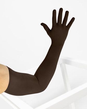 3607 Brown Long Matte Knitted Seamless Armsocks Gloves