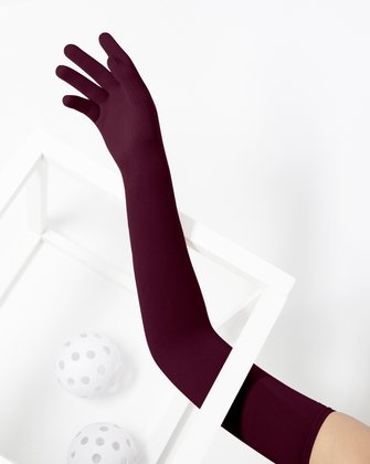 3607 Maroon Long Matte Knitted Seamless Armsocks Gloves