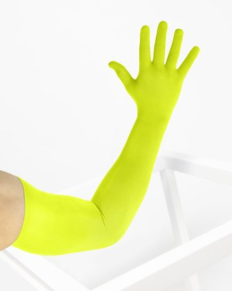 3607 Neon Yellow Long Matte Knitted Seamless Armsocks Gloves