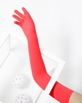 3607 Scarlet Red Long Matte Knitted Seamless Armsocks Gloves