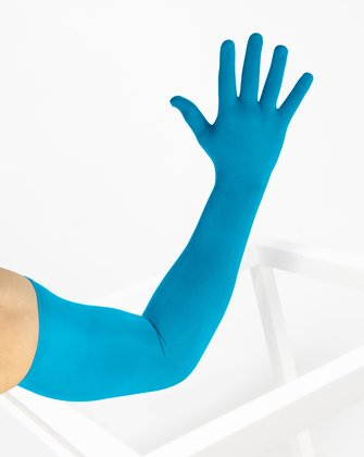 3607 Turquoise Long Matte Knitted Seamless Armsocks Gloves