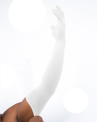 3607 White Long Matte Knitted Seamless Armsocks Gloves