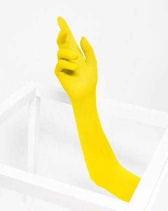 3607 Yellow Long Matte Knitted Seamless Armsocks Gloves
