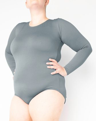 5002 W Grey Scoop Neck Leotard