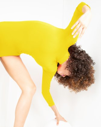 5008 Yellow Turtleneck Leotard