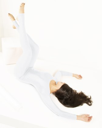 5009 W White Long Sleeve Unitard