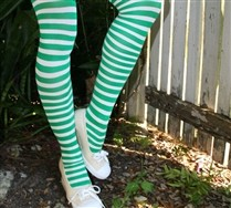 Colorful White Striped Tights