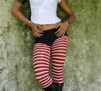 Colored White Striped Tights