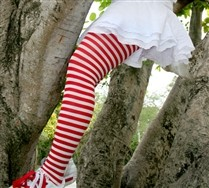 Plus Sized White Striped Tights and Hosiery