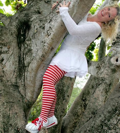 Red and white striped pantyhose