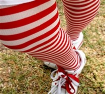 Colorful Plus Sized White Striped Tights