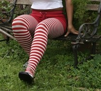 Colored Plus Sized White Striped Tights