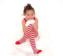 Colorful White Striped Kids Tights