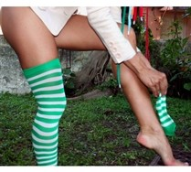 Colorful White Striped Thigh Highs