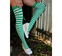 White Striped Thigh Highs and Hosiery
