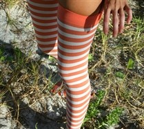White Striped Thigh Highs