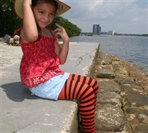 Black Striped Kids Tights