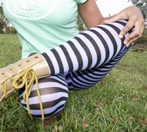 Plus Sized Black Striped Tights