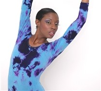 Splash Colors Long Sleeve Scoop Neck Leotard