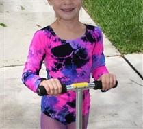 Splash Color Kids Long Sleeve Scoop Neck Leotard