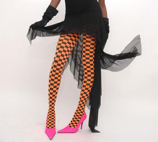black checkerboard tights