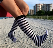Black Striped Knee Highs