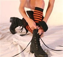 Colorful Black Striped Knee Highs