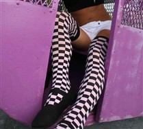 Checkerboard Thigh Highs and Hosiery